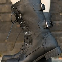 Strapping Style Lace Up Combat Boots - Black from Boots at Lucky 21