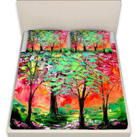 Sheets collaboration between Aja and DiaNoche Designs, King, Queen, Twin Thoughts of Spring
