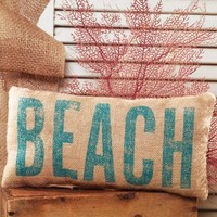 """BEACH"" French Country Burlap Accent Pillow - Natural Burlap/Aquamarine - 6-in x 12-in"