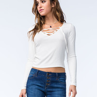 Full Tilt Womens Ribbed Lace Up Top Ivory  In Sizes