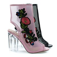 Ylang Pink Flower By Delicious, Floral Embroidery Patch, Lucite Perspex Block Heel Clear Mesh Bootie