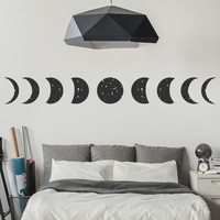 Moon Planets And Space Wall Stickers All Phases Wallpaper Home Decor Art Decals Available In Different Sizes Wall Tattoo SA339