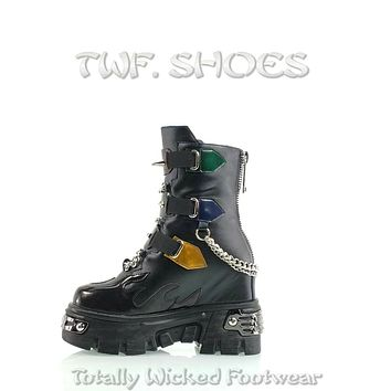 """WTF Dreamz Punk Goth 2.5"""" Platform Ankle Boots Flame Patch Chains Studs Black Anthony Wang"""