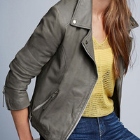 Gray Lapel Zipper Detail Leather Look Long Sleeve Biker Jacket