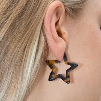 Tortoise Shell Star Earrings - Earrings - Jewelry - Accessories
