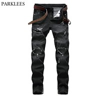 Black Zipper Hem Skinny Jeans Pants Men 2018 Brand Ripped Holes Denim Jeans Trousers Mens Moto Biker Stretch Distressed Jeans