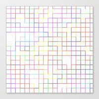 Re-Created SquaresIV Stretched Canvas by Robert S. Lee