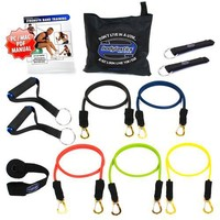 *New Bodylastics 12 pcs Resistance Bands *MAX TENSION STACKABLE SYSTEM (96 lbs.) with 5 Failsafe...