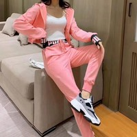 """""""PUMA"""" Woman Leisure Fashion Wild Letter Printing Zipper Hooded Long Sleeve Coat Tops Elastic Band Trousers Two-Piece Set Casual Wear"""