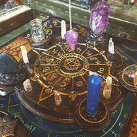 Pagan Wiccan Crystal Divination Alter- Medium