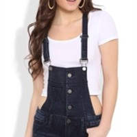 Denim Overall Shorts with Dark Wash and Four Button Bib