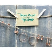 Dainty Rose Gold Earrings: Multiple Styles