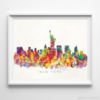 New York New York Watercolor Skyline Wall Art Home Decor Poster UNFRAMED by Inkist Prints
