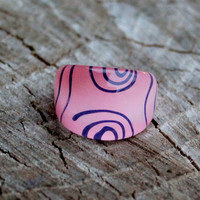 Vintage Pink Lucite Ring with Black Swirls