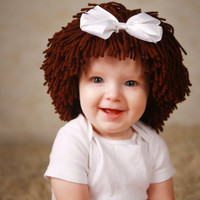 Baby Hat Brown Wig Hat Winter Cap Christmas Gift Ideas Baby Girls Clothes Photo Props Brown Hair Wig Baby Costume Dora Fashion