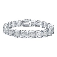 White Sterling Silver Women Bracelet Princess Lab Diamond