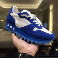 Louis Vuitton LV High Quality Fashion Women Men Casual Sneakers Shoes Blue
