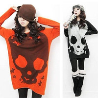 Women Halloween Skull Knitwear Long Sleeve Shirt Long Knit Sweater Tops Blouse
