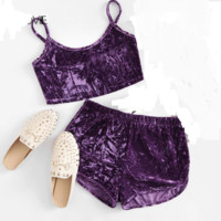 purple 2 piece velvet shorts cami lounge wear tg