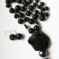 Black Rose Necklace, Flower Pendant Necklace, Black Jewelry, Elegant Jewelry Set, Beaded Earrings and Necklace, Flower Accessories