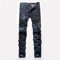 Slim Stretch Blue Embroidery Mosaic Men Denim Pants Jeans [6541760131]