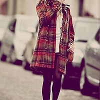 Free People  Plaid Cocoon Wool Coat at Free People Clothing Boutique