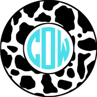 Cow Monogram Car Decal- Vinyl Monogram Decal with cow pattern, iPad Decal- stocking stuffer, Phone Decal- Sticker Monogram Decal, laptop