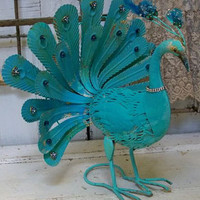 "Deep Turquoise aqua peacock metal sculpture shabby chic large statue embellished with rhinestones 20"" tall Anita Spero"