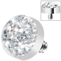 Clear Glitter Dome Dermal Top | Body Candy Body Jewelry