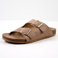 Brittany Buckle Sandal, Tan