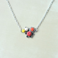 Roses Necklace Pendant,Paper Quilling, Red-Orange-Yellow-White, Quilling Jewelry,Romantic Necklace