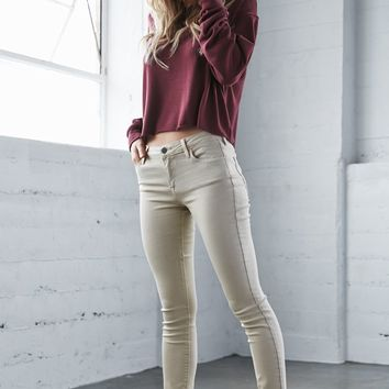 Bullhead Denim Co. Bone Mid Rise Skinny Jeans - Womens Jeans - White