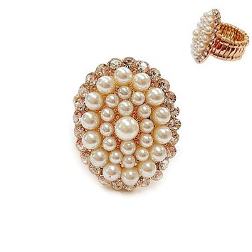 Oval Pearl And Rhinestone Stretch Ring