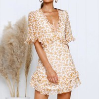Yellow Plunge V Neck Ruffles Sexy Dress Women Half Sleeve Chiffon Beach Sundress Boho Floral Print Elegant Dress