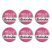 Brenda Hello My Name Is Plastic Resin Button Set of 6