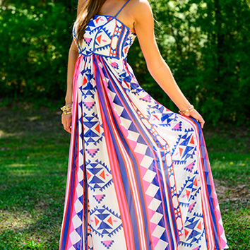 Roped In Maxi, Pink/Blue/Ivory