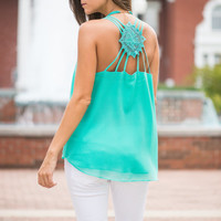 Strappy To Be Here Tank, Teal