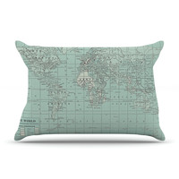 """Catherine Holcombe """"The Old World"""" Blue Teal Pillow Case"""