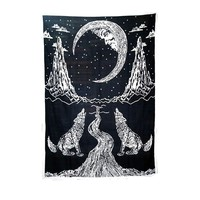 2017 polyester  indian mandala tapestry Wolf and moon printed tapestry wall hanging beach