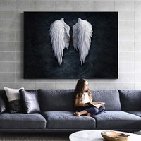 Anime Angel Wings Wall Art Canvas Prints Angel Feather Ground Wings Creative Paintings On The Wall Picture For Living Room Decor