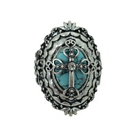 Western Cowgirl Bohemian Turquoise Cross Chunky Fashion Cocktail Ring