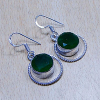 Quartz Emerald & 925 Silver Overlay Earrings 36mm May Birthstone.Lucky For Love,Gifts Under 10,20,30,Silver Emerald Earrings,UK Seller