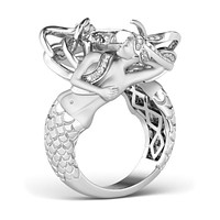 SALE A Museum 14K White Gold 2.6CT Russian Lab Diamond Mermaid Engagement Promise Wedding Ring