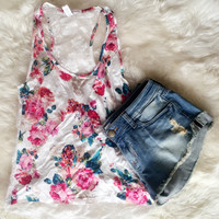 Floral Tank with Lace Back