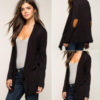 Black Color Block Elbow Patch Notched Collar Cardigan