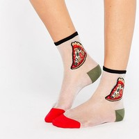 Monki | Monki Pizza Sheer Socks at ASOS