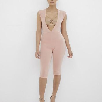 POOLSIDE SHAWTY PLUNGING JUMPSUIT