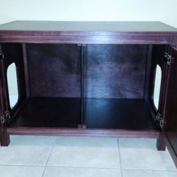 Double-Sided, Divided, Odor Free, Custom, Hand Made in USA, Wood Cat Litter Box Cabinet. Hinged Lid. No Assembly Needed. Not MDF