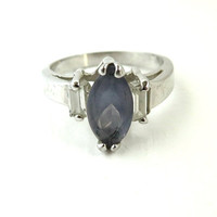 Vintage Sterling Silver Topaz Ring, Antique Finish, Marquise Solitaire, Size 5