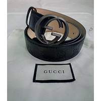 Gucci signature black leather belt with double g buckle